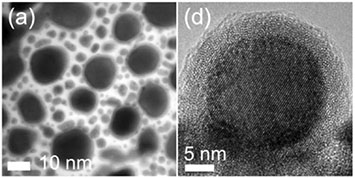 Transmission electron microscopy (TEM) images of the gold-indium alloy nanoparticles at room temperature. (A) shows an overview of multiple particles, while (D) shows a high-resolution TEM image of one nanoparticle's crystalline gold-indium core surrounded by the amorphous and catalytic oxide shell.