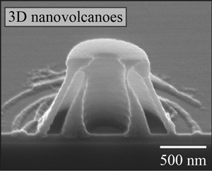 Cross-section of a nano-volcano carved using light.Image credit: Chih-Hao Chang