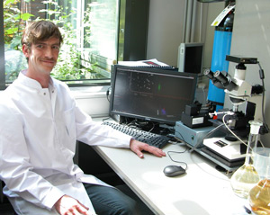 PhD student, Martin Schulz, at the University of Harburg with his NanoSight LM10 NTA system used for the characterization of colloids in water.