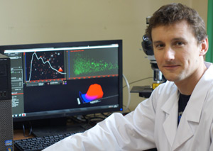 Dr Pawel Stelmachowski of the Jagiellonian University in Krakow, Poland with his NanoSight LM10 NTA system used to characterize nano-sized catalyst materials.