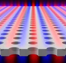 "Light is found to be confined within a planar slab with periodic array of holes, although the light is theoretically ""allowed"" to escape. Blue and red colors indicate surfaces of equal electric field.