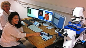 Dr Christian Marli�re and his PhD student, Samia Dhahri, working with