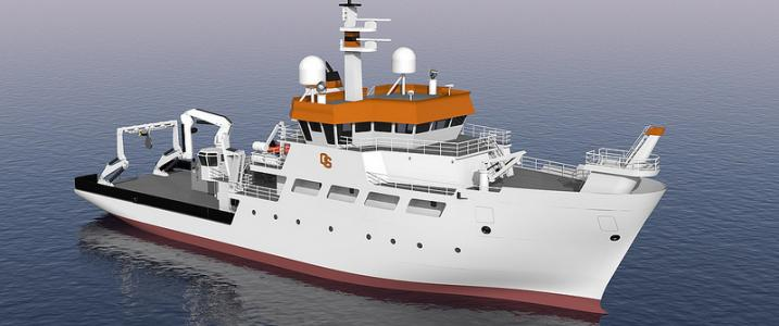 Architect's rendering of a coastal research vessel.Drawing courtesy of Oregon State University