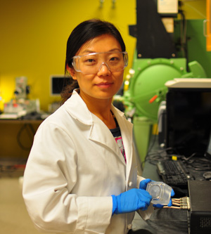 UCSC graduate student Hanyu Wang (above) is first author of the paper describing a novel solar-microbial device for generating hydrogen fuel.Photo by Song Yang