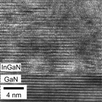 The atomic arrangement at a relaxed InGaN/GaN interface created by layer-by-layer atomic crystal growth is shown. The technique may point to new developments in solar cell efficiency.