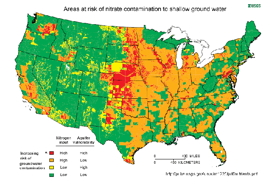 Many areas of the United States are at risk of contamination of drinking water by nitrates and nitrites due to overuse of agricultural fertilizers.