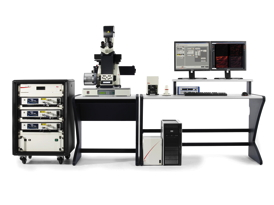 The Leica SR GSD 3D super-resolution system for 3D localization microscopy attains a resolution of 20 nanometers in x and y and up to 50 nanometers in z direction.