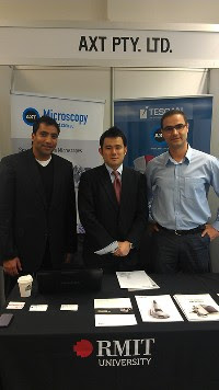 The AXT stand at SPIE manned by Kamran Khajehpour and Nav Dhaliwal from AXT and Hirro Fujino from Hirox.