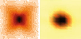"These two neutron scattering images represent the nanoscale structures of single crystals of PMN and PZT. Because the atoms in PMN deviate slightly from their ideal positions, diffuse scattering results in a distinctive ""butterfly"" shape quite different from that of PZT, in which the atoms are more regularly spaced.