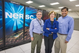 Jeff Broughton, NERSC deputy for operations and leader of the Edison procurement; Kathy Yelick, associate laboratory director for computing sciences at Berkeley Lab; and Sudip Dosanjh, NERSC division director, pose with Edison, NERSC�s new flagship supercomputer. Select to enlarge.Photos: Roy Kaltschmidt, LBNL