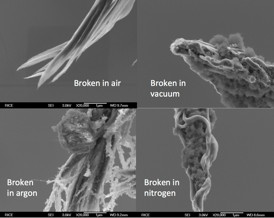 Scanning electron microscope images show typical carbon nanotube fibers created at Rice University and broken into two by high-current-induced Joule heating. Rice researchers broke the fibers in different conditions � air, argon, nitrogen and a vacuum � to see how well they handled high current. The fibers proved overall to be better at carrying electrical current than copper cables of the same mass.Credit: Kono Lab/Rice University
