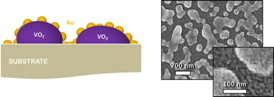 "Left: Illustration of terahertz optical switches shows the vanadium dioxide nanoparticles coated with a ""nanomesh"" of smaller gold particles. Right: Scanning electron microscope image of the switches at two resolutions. Haglund Lab / Vanderbilt"