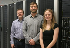 Right to left: Prof. David Hawthorn, Prof. Roger Melko, and Lauren Hayward. They are pictured in front of  Waterloo�s SHARCNET supercomputer which they used to perform the calculations.