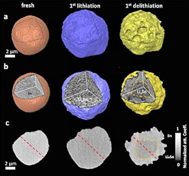 These images show how the surface morphology and internal microstructure of an individual tin particle changes from the fresh state through the initial lithiation and delithiation cycle (charge/discharge). Most notable are the expansion in overall particle volume during lithiation, and reduction in volume and pulverization during delithiation. The cross-sectional images reveal that delithiation is incomplete, with the core of the particle retaining lithium surround by a layer of pure tin.