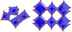 Left: Structure of the ammonium metatungstate dissolved in water on atomic length scale. The octahedra consisting of the tungsten ion in the centre and the six surrounding oxygen ions partly share corners and edges. Right: Structure of the nanoparticles in the ordered crystalline phase. The octahedra exclusively share corners. Credit: Dipankar Saha/Århus University