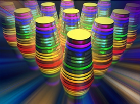 "The image shows a ""multilayered waveguide taper array."" The different wavelengths, or colors, are absorbed by the waveguide tapers (thimble-shaped structures) that together form an array."