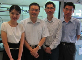 The IBN research team, who invented the new green chemistry method to turn sugar into adipic acid (from left) Dr Ting Lu, Dr Yugen Zhang, Dr Xiukai Li and Dr Guangshun Yi.