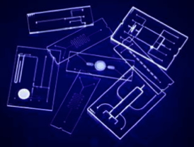 Microfluidics devices, some the size of a credit card. These carry fluids through microscopic channels for diagnostic and drug delivery applications.