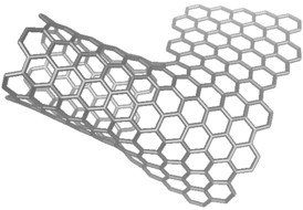Carbon nanotubes that serve as reinforcing bars in graphene partially unzip in the process created at Rice University. The unzipped part of the tube bonds covalently with the graphene sheet, providing an uninterrupted electrical connection.Credit: Tour Group/Rice University