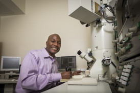 Thomas H. Epps, III, (pictured) and Millicent Sullivan are leading a UD research team that has shown that routine processing and storage conditions can have a significant influence on the size and shape of drug nanocarriers produced from self-assembled polymers.Photo by Evan Krape