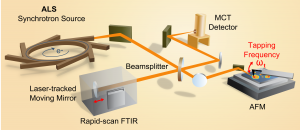 Experimental setup for SINS that includes the synchrotron light source, an atomic force microscope, a rapid-scan Fourier transform infrared spectrometer, a beamsplitter, mirrors and a detector.