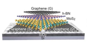 Berkeley Lab researchers fabricated the first fully 2D field-effect transistor from layers of molybdenum disulfide, hexagonal boron nitride and graphene held together by van der Waals bonding.