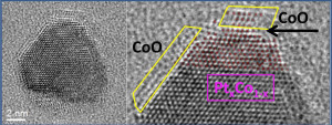 TEM image of platinum/cobalt bimetallic nanoparticle catalyst in action shows that during the oxidation reaction, cobalt atoms migrate to the surface of the particle, forming a cobalt oxide epitaxial film, like water on oil.