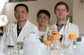 Rice University scientists (from left) Michael Wong, Zhun Zhao and James Clomburg discovered a palladium and gold nanocatalyst that is faster -- about 10 times faster -- at converting glycerol into high-value products than catalysts of either metal alone.  