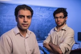 Rouzbeh Shahsavari, left, and Navid Sakhavand used computer simulations to predict the properties of a 3-D nanostructure made with boron nitride.