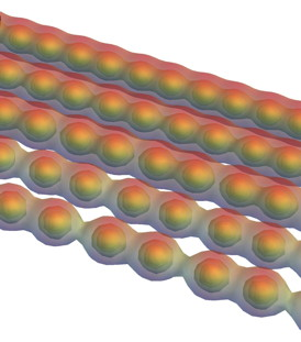 Carbyne turns from a metal to a semiconductor when stretched, according to calculations by Rice University scientists. Pulling on the ends would force the atoms to separate in pairs, opening a band gap. The chain of single carbon atoms would theoretically be the strongest material ever if it could be made reliably. Credit: Vasilii Artyukhov/Rice University