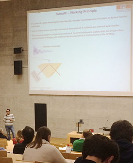 Francesco Simone Ruggeri presents a summary of his winning poster at the 2014 annual meeting of the Swiss Physics Society held at the University of Fribourg.