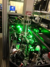 The experiment was undertaken at Rutherford Appleton Laboratories in the Artemis laser facility using an advanced femtosecond laser system to resolve rotations of complexes. The picture shows a section of the laser system used during the experiments.