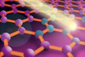 Researchers at MIT have found a way to control how graphene conducts electricity by using extremely short light pulses. In this illustration, a lattice of graphene is shown with its bonds (bars) connecting carbon atoms (balls). When the light pulse hits the atoms, electrons can accumulate or diminish in number. By controlling the concentration of electrons in a graphene sheet, researchers can change the material's electrical conductivity.