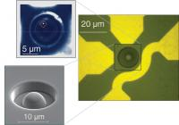 These images show a diamond sample with a hemispherical lens (right and lower left), and the location of a single electron spin/quantum state visible through its light emission (upper left). The scale bar on the image at upper left measures five microns, the approximate diameter of a red blood cell.