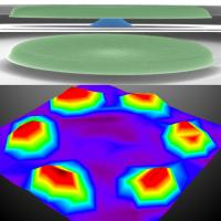 This image spatially maps and visualizes the shapes of multimode Brownian motions. The to of the image is a false-colored scanning electron micrographs of a silicon carbide (SiC) microdisk supported by a central pedestal made of 500nm-thick silicon oxide. The bottom image is a scanned map of vibrations of the microdisk due to a high-order mode Brownian motion.