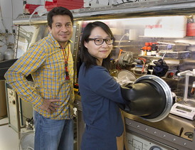 Scientists Aditya Mohite, left, and Wanyi Nie are perfecting a crystal production technique to improve perovskite crystal production for solar cells at Los Alamos National Laboratory.