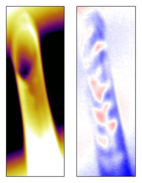 Mapping of the captured magnetization domains (right, red-blue patterns) in a sample 20 nanometers thick that had been wound in two layers into a tube. The tube has a diameter of 5 microns and a height of 50 microns.