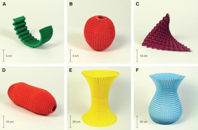 This image shows various shapes made from Miura-ori pattern.