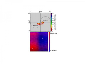 (Top) A phasor plot of the transient absorption data shows the presence of free charges and excitons; a false colored image shows their contributions at different spatial positions.