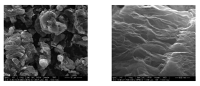 Fig. 1: SEM images of Abalonyx rGO, 6,000 X magnification left and 100,000 X right.
