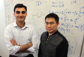 Dr. Fan Zhang (right), assistant professor of physics, and senior physics student Armin Khamoshi recently published their research on transition metal dichalcogenides.