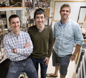 (l to r) Graduate students Eric Meier and Fangzhao Alex An are with Bryce Gadway in Loomis Laboratory at Illinois.