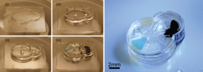 Fabrication and complete assembly of a Geneva drive device using the iMEMS method. The left panel shows the layer-by-layer fabrication of support structures and assembly of gear components. The image on the right shows the complete device after the layers have been sealed.