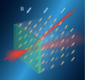 Routing of light in a liquid crystal by a magnetic field (B). The orientation of the field determines the orientation of rod-shaped molecules of the liquid crystal and defines direction of the light trajectory. This trajectory can be rapidly changed by changing the orientation of the magnetic field.