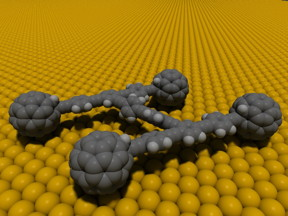 An early nanocar with buckyball wheels was created by the lab of Rice University chemist James Tour. A late model will compete in the first Nanocar Race in France April 28. (Credit: Tour Group/Rice University)