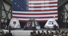 VP Pence speaking at Kennedy Space Center. Background L to R: SpaceX Dragon, Orion EFT-1, and Boeing CST-100 training module. Image credit: NASA