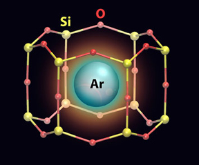 An artistic rendering of an argon (Ar) atom trapped in a nanocage that has a silicon (Si)-oxygen (O) framework.