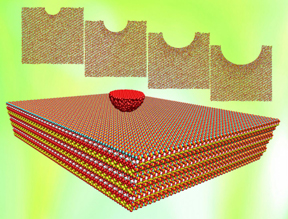 Indented tobermorite, a natural analog to the calcium-silicate-hydrate mix in cement, responds differently than bulk tobermorite, depending on the size of the indentation and the force. Layers that bond through indentation remain that way after the force is removed, according to Rice University engineers.