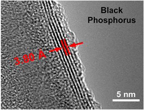 Transmission electron microscope image showing the ultrathin layers of black phosphorus used in the energy harvesting device An angstrom (Å) is about the width of a single atom and is one tenth of a nanometer (nm). (Nanomaterials and Energy Devices Laboratory / Vanderbilt)