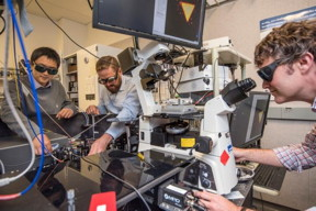 From left: Kaiyuan Yao, Nick Borys, and P. James Schuck, seen here at Berkeley Lab's Molecular Foundry, measured a property in a 2-D material that could help realize new applications.